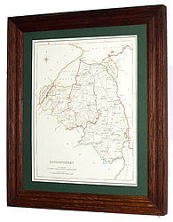 Londonderry map shown mounted and framed