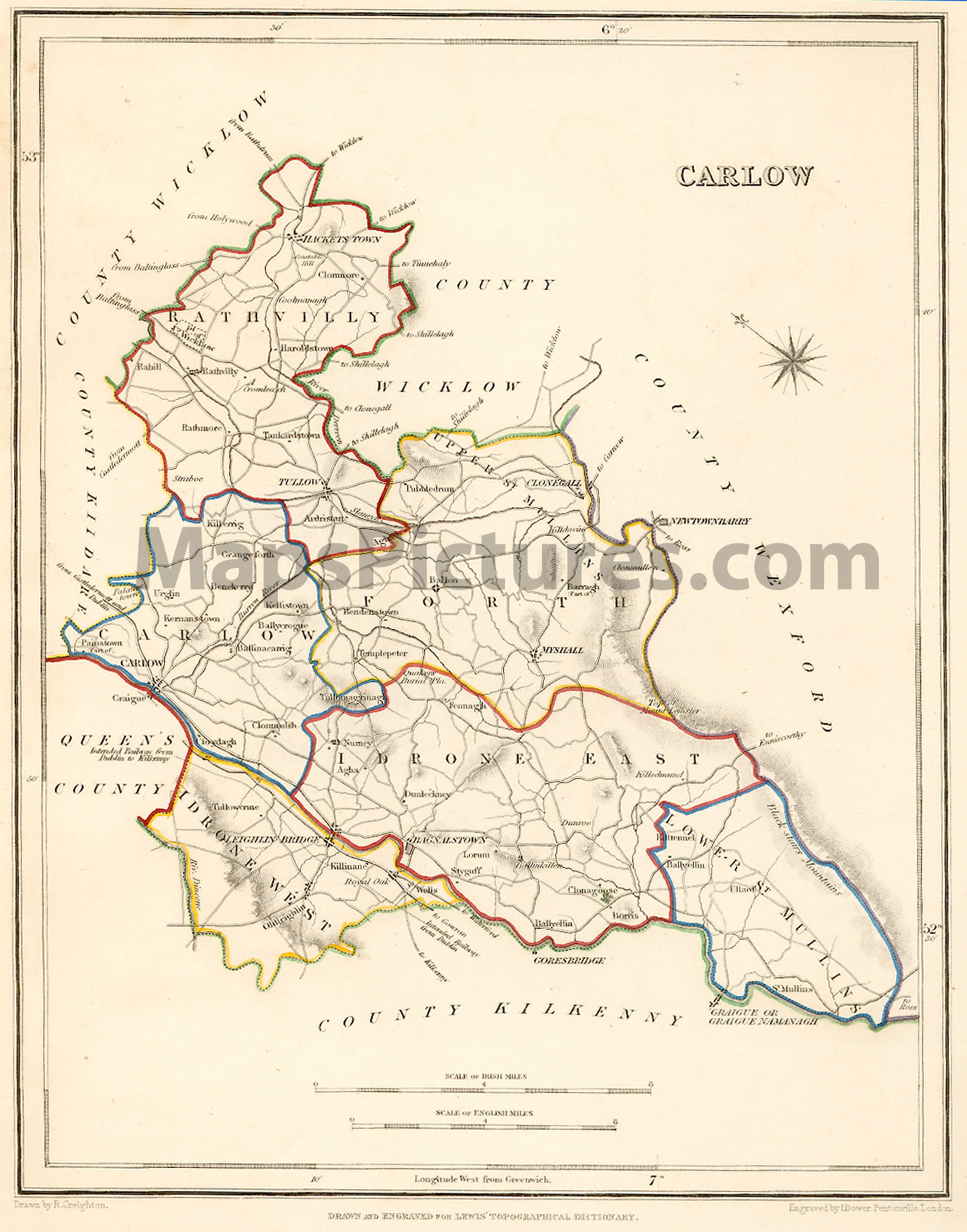 Carlow Map Of Ireland.County Carlow Ireland Map 1837
