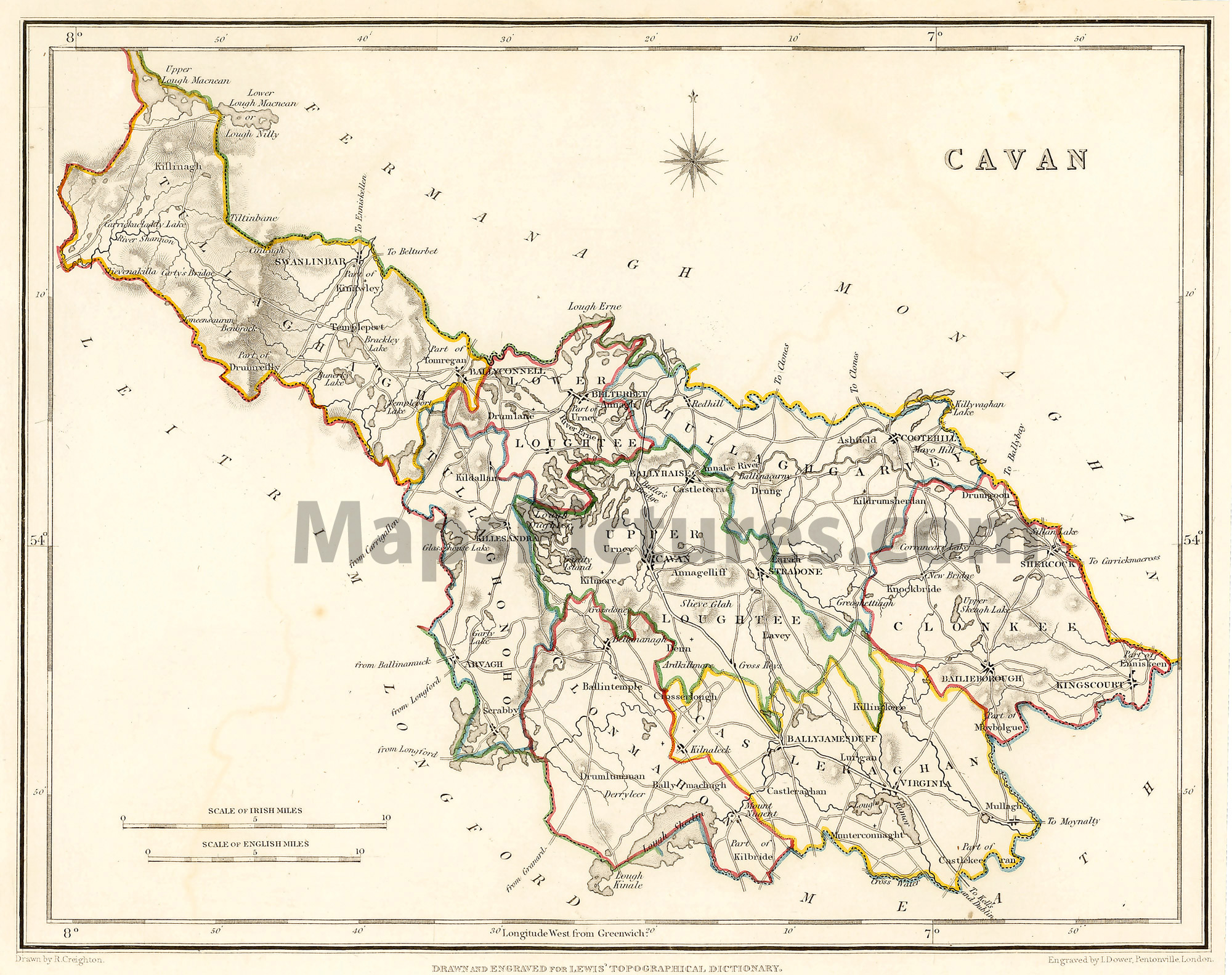 Map Of Ireland Cavan.County Cavan Ireland Map 1837
