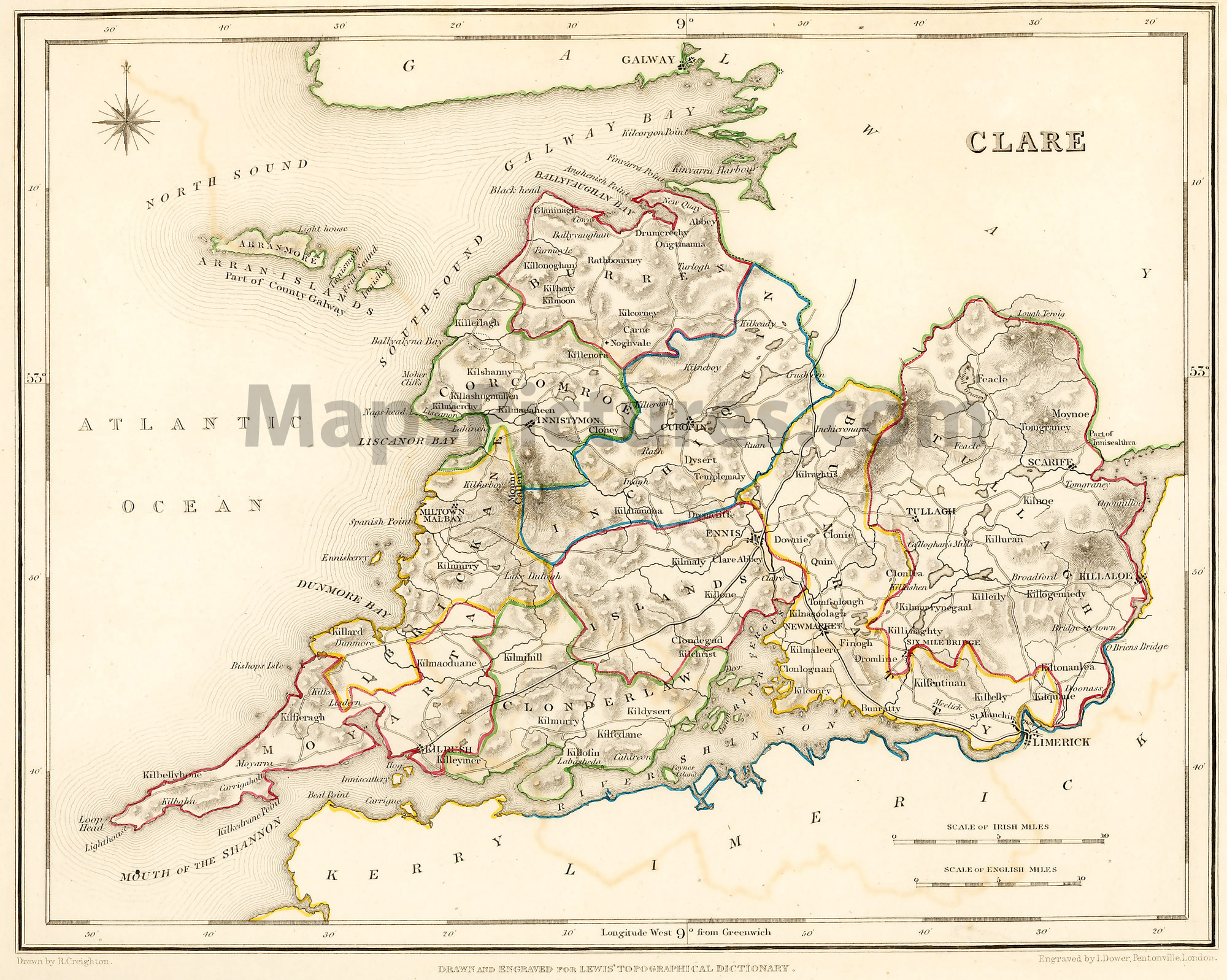 County Clare Ireland Map 1837