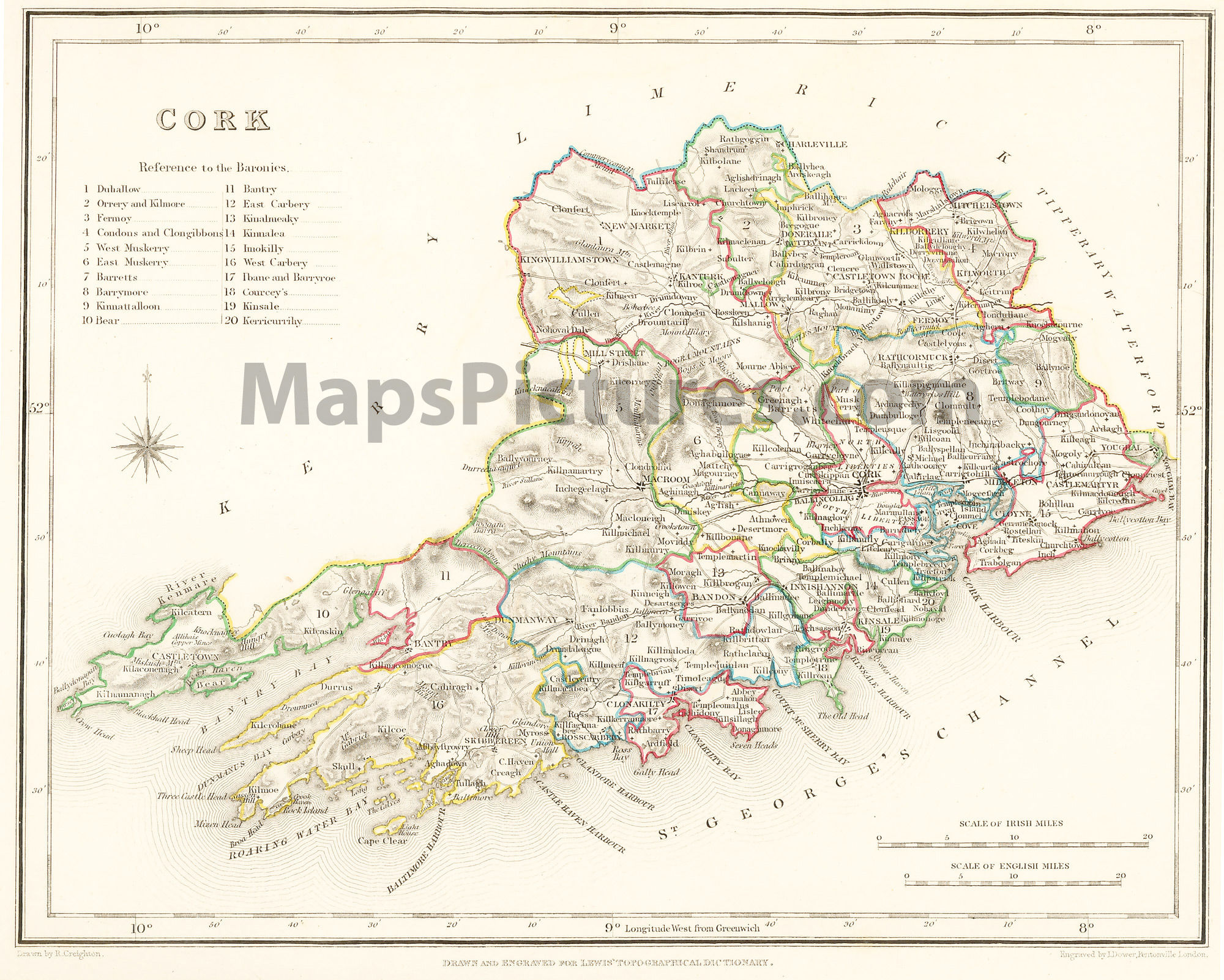Map Of The West Of Ireland.County Cork Ireland Map 1837