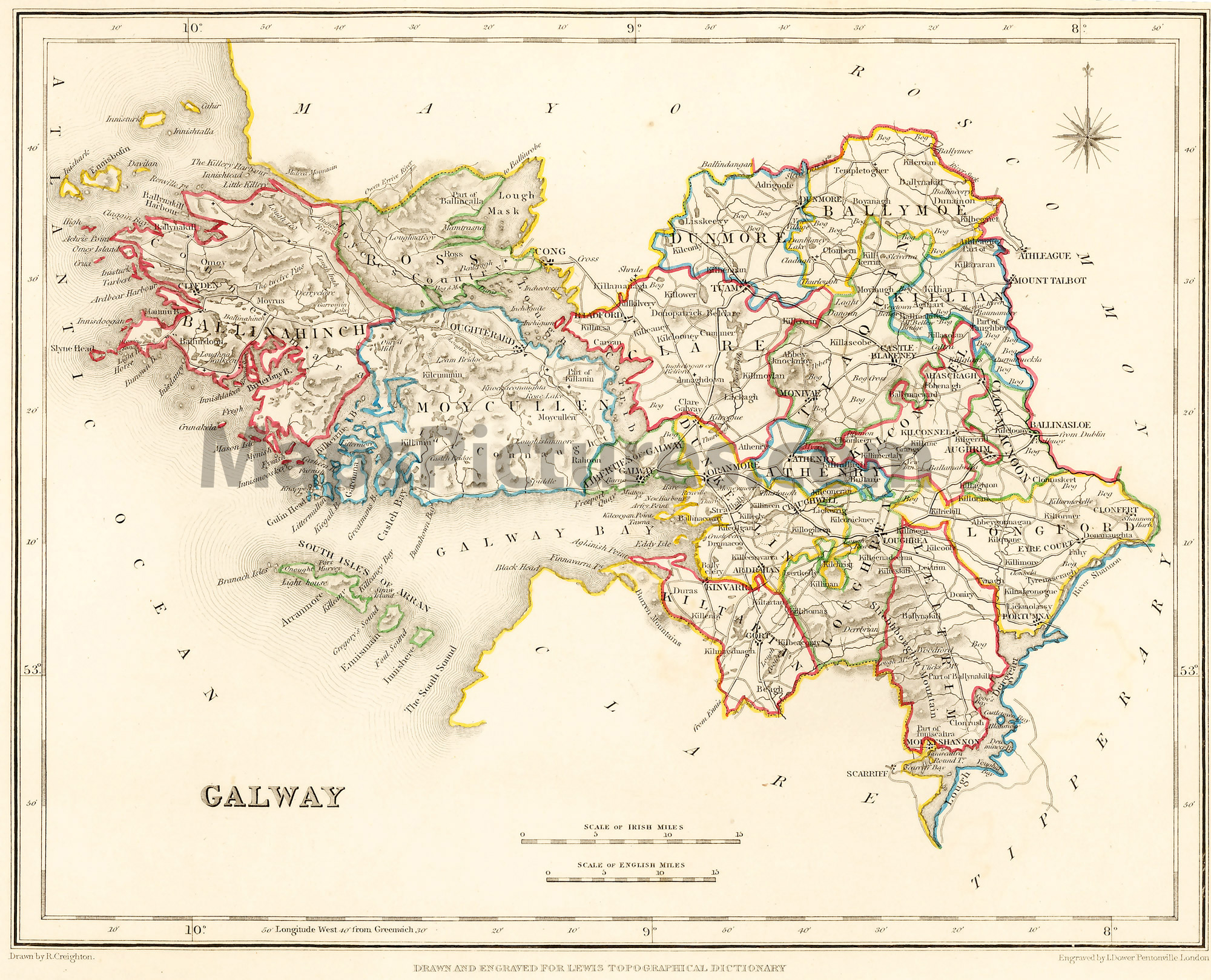 Map Of Ireland Print.County Galway Ireland Map 1837