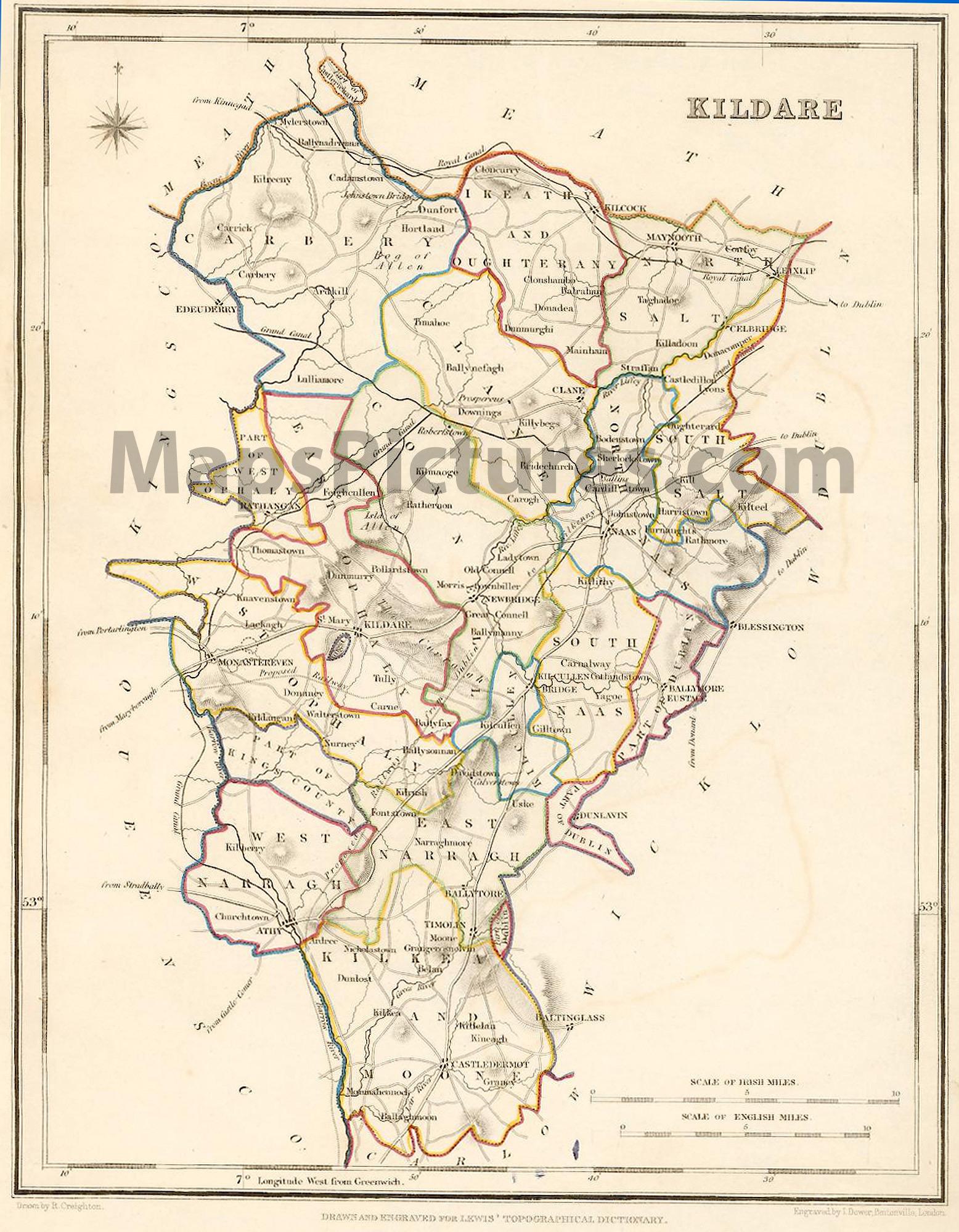 County Kildareireland Map 1837