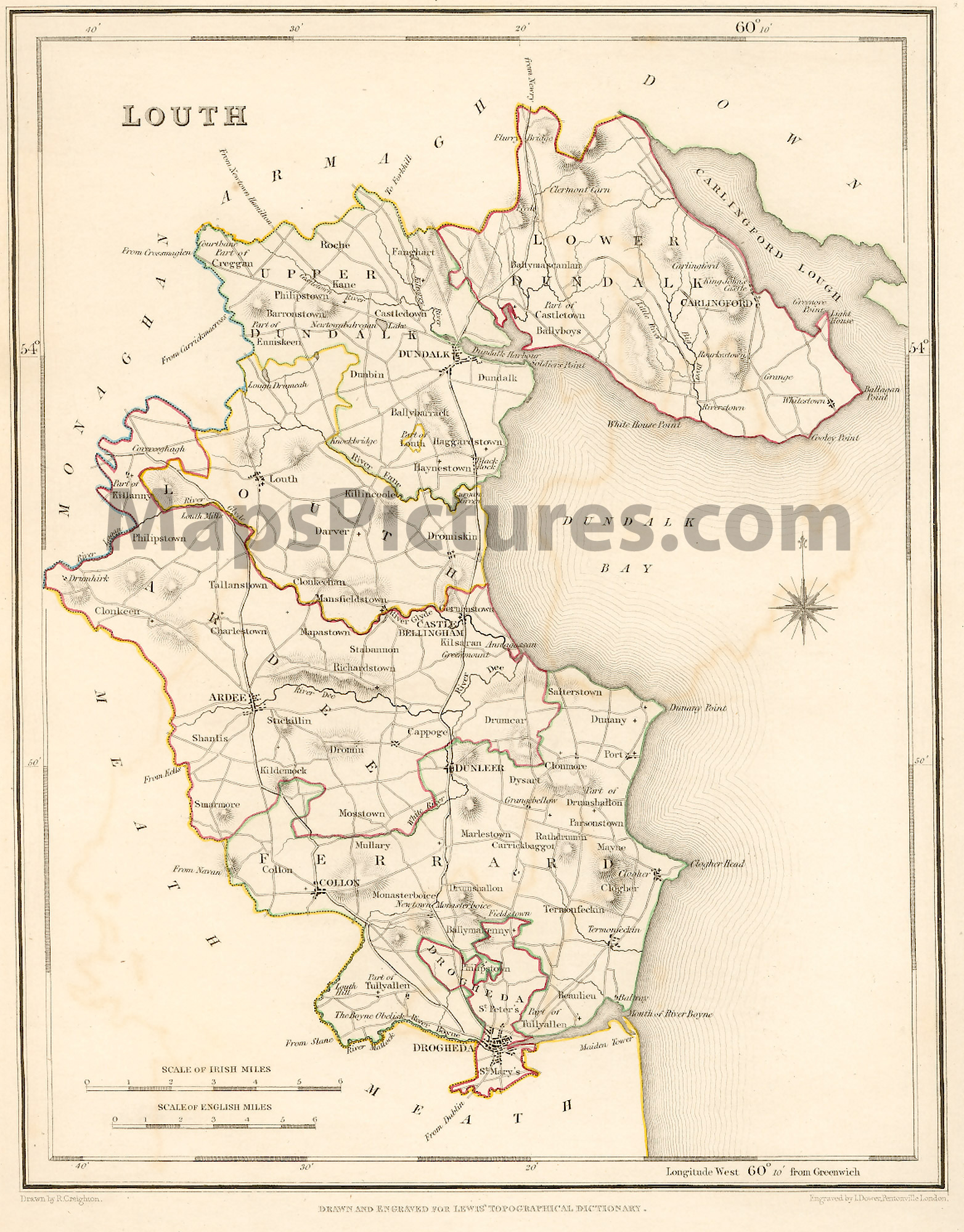 Map Of Ireland Louth.County Louth Ireland Map 1837