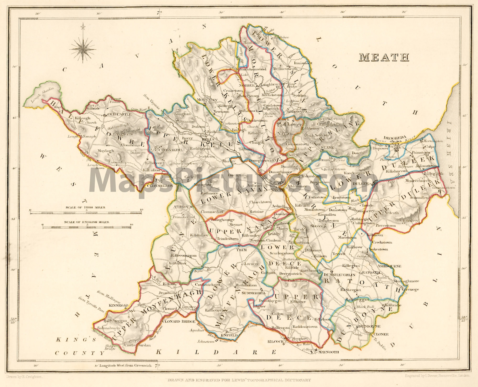Map Of Co Meath Ireland.County Meath Ireland Map 1837