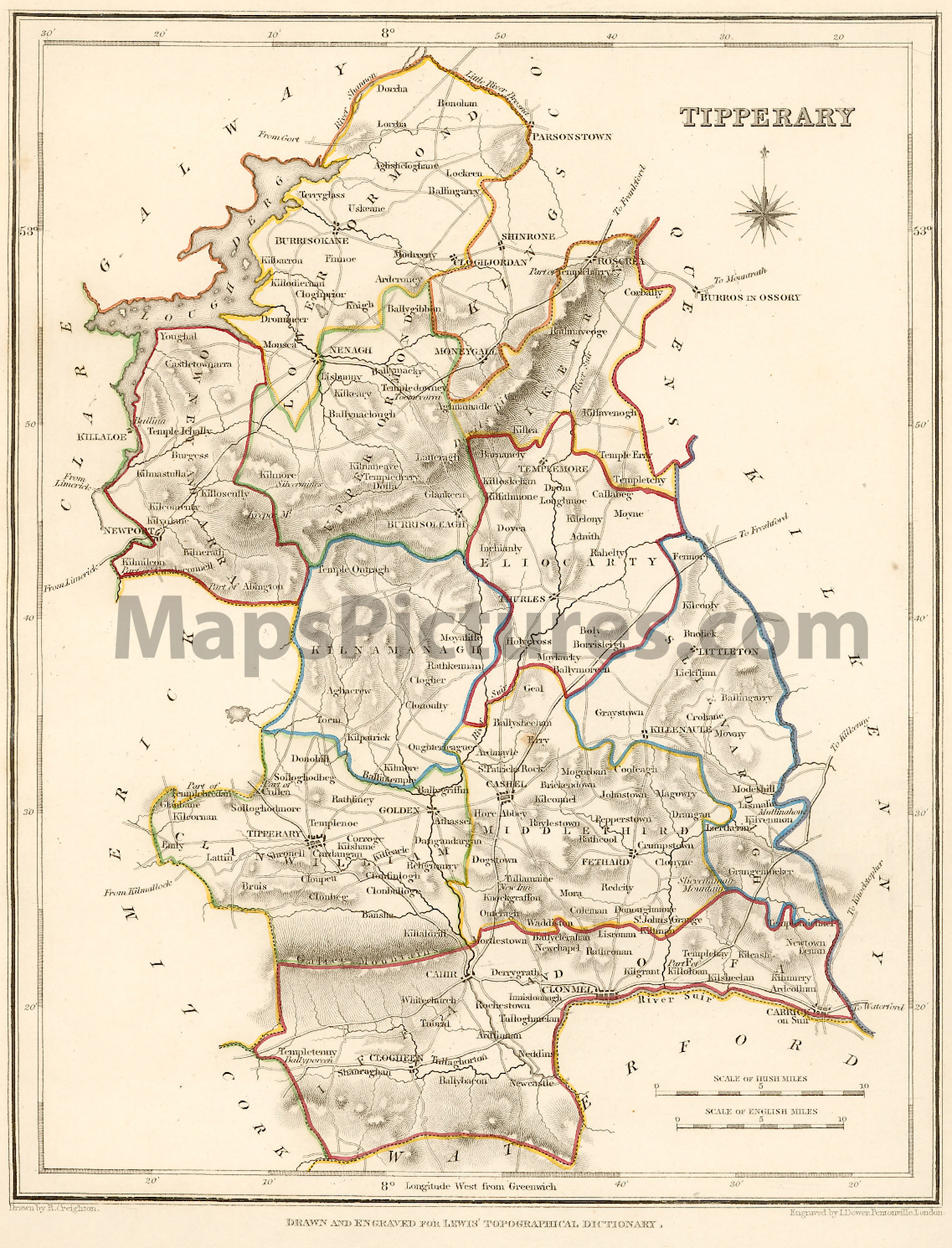 County Tipperary Ireland   Map 1837
