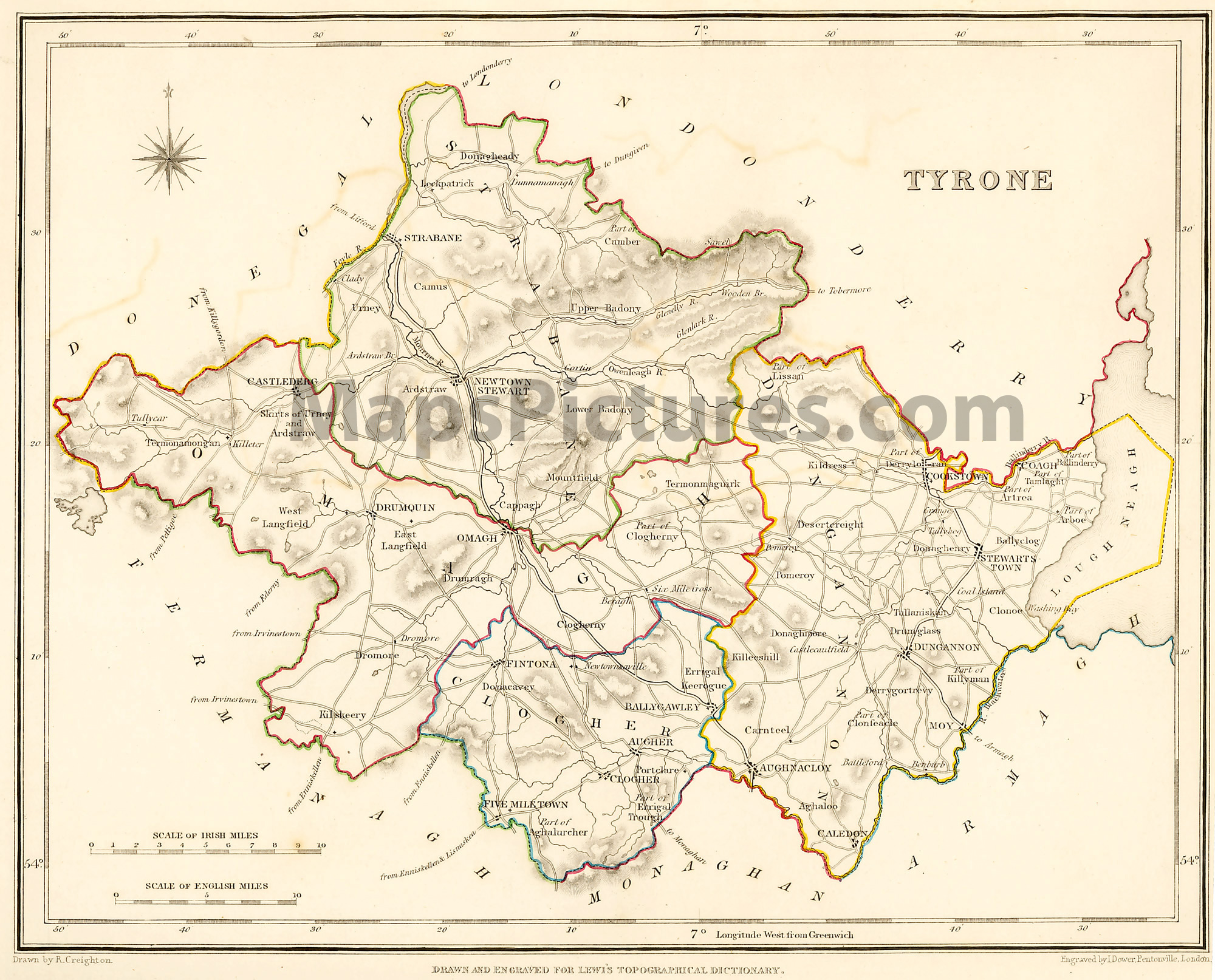 County Tyrone Ireland   Map 1837