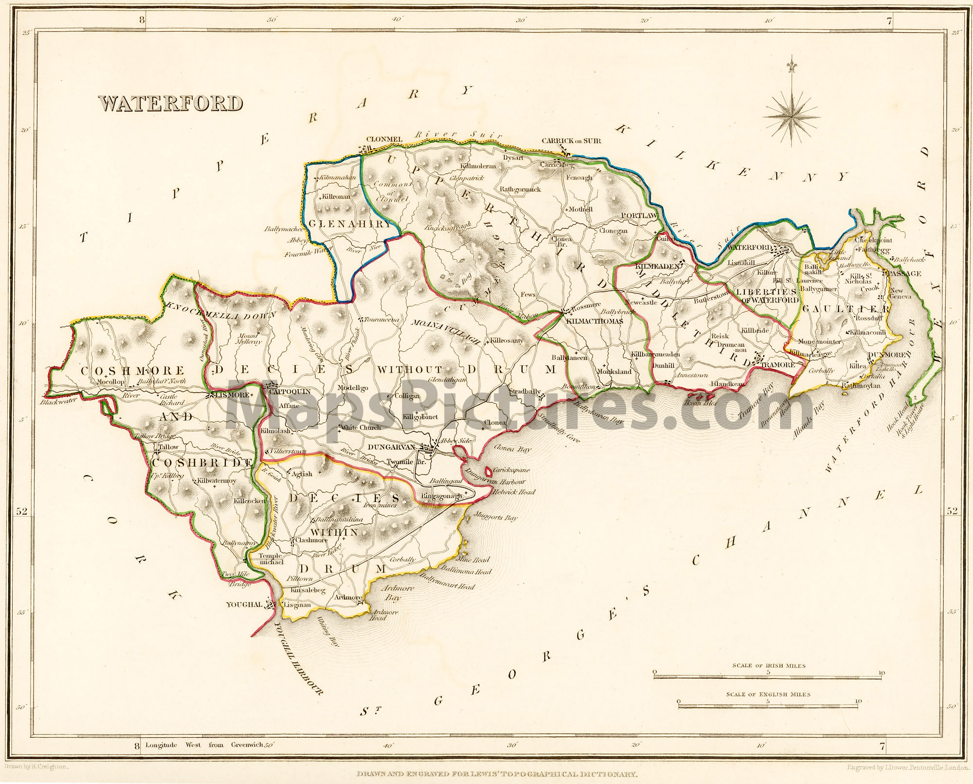 Map Of Waterford Ireland.County Waterford Ireland Map 1837