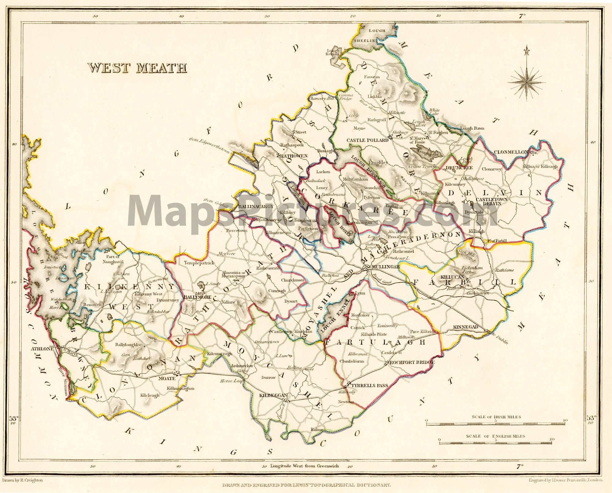 Maps Ireland Counties County West Meath Ireland