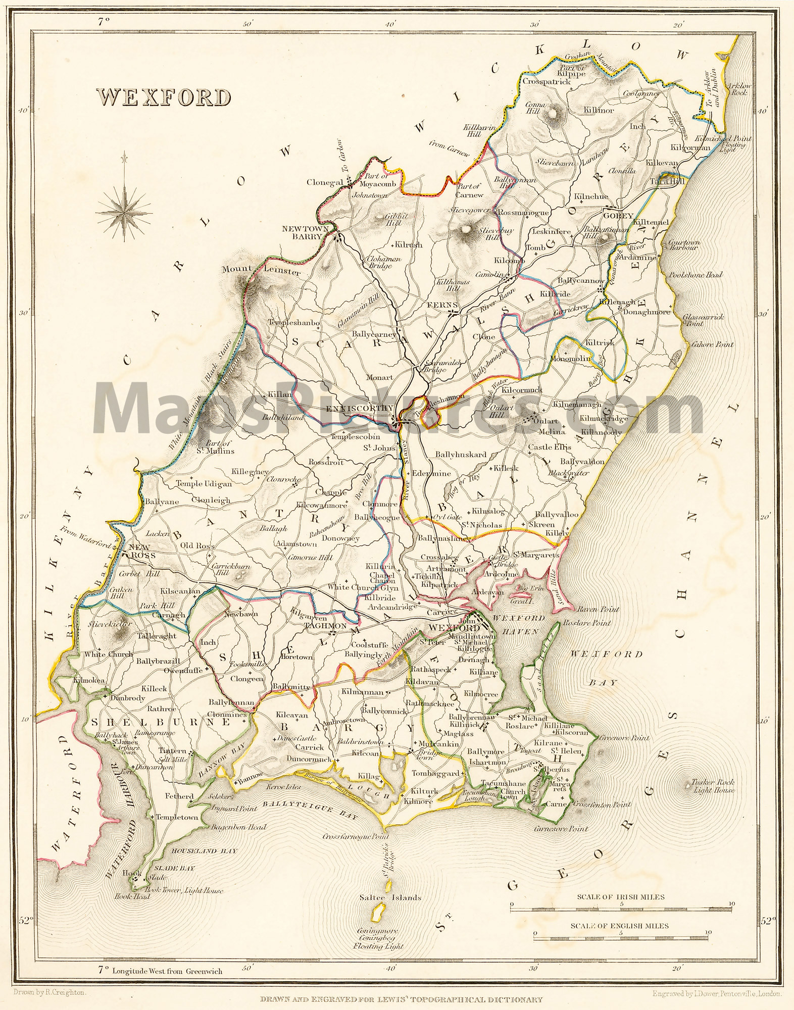 Map Of Wexford County Ireland.County Wexford Ireland Map 1837